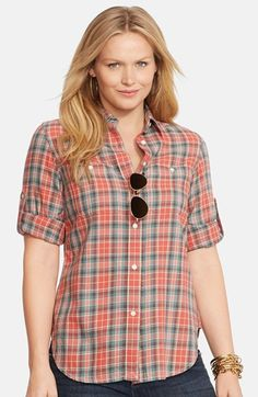 Free shipping and returns on Lauren Ralph Lauren Roll Sleeve Plaid Shirt (Plus Size) at Nordstrom.com. In a classic plaid detailed with white topstitching, a soft cotton twill shirt shows casual attitude with button tabs rolling the sleeves. Buttoned chest pockets add a signature Ralph Lauren touch.