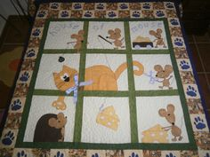 I like quilts with a story! Quilt Baby, Baby Clothes Quilt, Cat Quilt Patterns, Applique Patterns, Applique Quilts, Quilting Templates, Quilting Projects, Quilting Designs, Dog Quilts