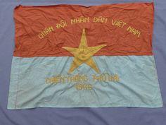"""Viet Cong 1966 Vietnam Phu Bai offensive battle flag. Top reads """"Armed Forces for Vietnam ."""" Bottom reads """"Phu Bai offensive 1966."""" ~ Vietnam War"""