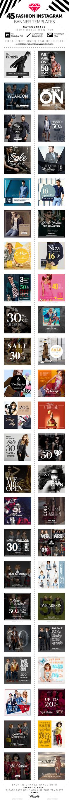 Instagram Banner Templates - Social Media Web Elements