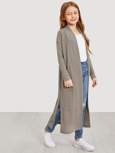 To find out about the Girls Waffle Knit Split Side Jersey Duster Coat at SHEIN, part of our latest Girls Jackets & Coats ready to shop online today!