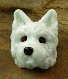 """***HOLIDAY SALE: Receive a 15% discount off all items purchased through December 25, 2013. Just key in discount code """"Holidays2013"""" to receive your discount.*** Westie Bead - Signed Lampworked Glass Dog Head by GlassArtbyVicki, $119.00"""