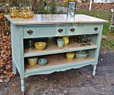 Heir and Space: An Antique Dresser Turned Island in Pale Aqua
