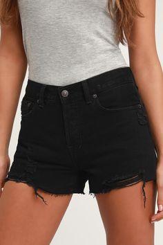 f215824f54 Free People Sofia Black Distressed Denim Shorts - Denim Shorts Black Denim  Shorts, Distressed Denim