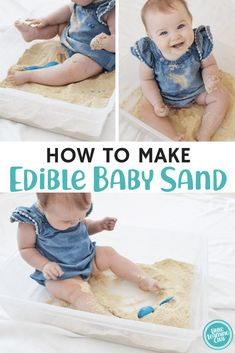 How to make edible baby sand. Edible and taste safe sensory activity for 1 year olds. indoor activities for kids. educational printable activities for toddlers. Activities For 1 Year Olds, Indoor Activities, Infant Activities, Diy Sensory Toys For 1 Year Old, 1 Year Old Games, 1year Old Activities, Diy Sensory Toys For Babies, Crafts For Babies, 6 Month Baby Activities