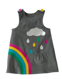 Little girls rainbow dress with silver cloud applique by Wild Things Dresses Brighten up any grey day with this beautiful cord rainbow & cloud Baby Girl Dress Patterns, Little Dresses, Little Girl Dresses, Girls Dresses, Baby Outfits, Kids Outfits, Toddler Dress, Baby Dress, Rainbow Dress Girl