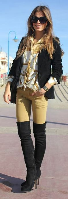 Mustard Skinny Jeans, Blouse, and Black Blazer with Over the Knee Boots.