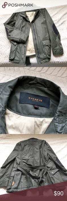 Authentic Coach Army Green Schooling Jacket Authentic Coach, purchased by me at a Coach store. 74% cotton, 26% nylon. Has a few dusty spots on it, which could be easily removed. Has leather elbow pads and a leather tag. In excellent condition! • Tan/beige interior • Original hanged and dust bag included! • Only worn once, but it was too big Coach Jackets & Coats