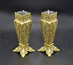 Antique Brass Vases,  Vintage Reticulated Vase, Pierced Brass Bear Statue, Formal Dining Tables, Candlesticks, Valentine Gifts, Antique Brass, Gifts For Mom, Vintage Antiques, Handmade Items, My Etsy Shop