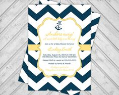 Printable gender neutral nautical baby shower invitation - navy blue and yellow - chevron baby shower invite - anchors away (993) on Etsy, $15.00