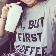 ROSASSY Style women harajuku letter OK BUT FIRST COFFEE t shirts woman  tshirt ladies casual streetwear tops female t shirt  #Affiliate
