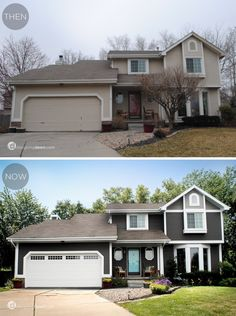Exterior makeover - mostly just paint! Charcoal house, white trim, turquoise door