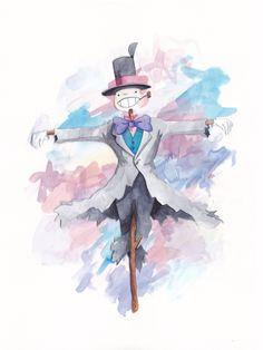 In movimento castello rapa testa acquerello Studio Ghibli arte