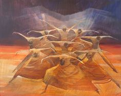 """Dance paintings for sale, inspired by Alvin Ailey's Ballet """"Revelations"""", re-created as Giclee on Canvas"""