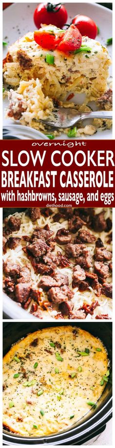 Overnight Slow Cooker Breakfast Casserole - Set the slow cooker overnight  and wake up to this amazing casserole loaded with hashbrowns, cheese,  sausage, ...