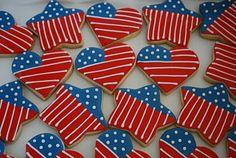 Of July Cookies Vanilla Sugar Cookie with Royal Icing Blue Cookies, Summer Cookies, Fancy Cookies, Heart Cookies, Iced Cookies, Royal Icing Cookies, Cupcake Cookies, Cookie Frosting, Cupcakes