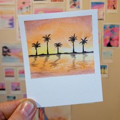 Watercolor Projects, Watercolor Drawing, Painting & Drawing, Watercolor Paintings, Cute Canvas Paintings, Small Canvas Art, Mini Canvas Art, Mini Toile, Polaroid
