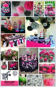 zebra party, this might be the next bday party! Zebra Birthday, 16th Birthday, Girl Birthday, Birthday Parties, Birthday Ideas, Zebra Party, Festa Monster High, Sweet 16 Parties, Spa Party