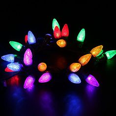 MAXINDA TM Connectable Outdoor String Lights18 ft 25 LEDs UL Listed Colored Christmas Lights Steady On Weatherproof C7 Bulbs for Patio Garden Party Holiday Decorating * Details can be found by clicking on the image.