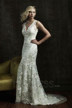 A-Line Empire V-neck Lace Luxury Wedding Dresses