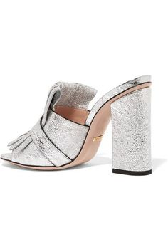 Gucci - Marmont Fringed Metallic Cracked-leather Mules - Silver - IT36.5