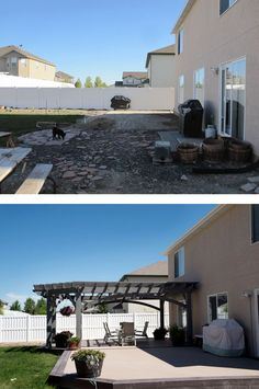 before and after installing deck and timber frame shadescape pergola kit from western timber frame