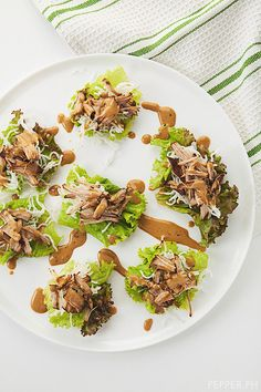 Pulled Pork in Lettuce Cups with Adobo Mayonnaise