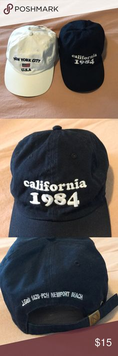 Brandy Melville Baseball Hats Bundle Brandy Melville Hats | NWOT | White New York City USA | Navy Blue California 1984 | Ajustable Staps on back Brandy Melville Accessories Hats