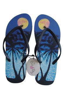 Fashion Flip Flops Sandals Thongs Womens Tropical Blue Black Bling Strap New #EsteeLilly #FlipFlops #Beach
