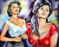Sohia Loren painting portrait, movie poster