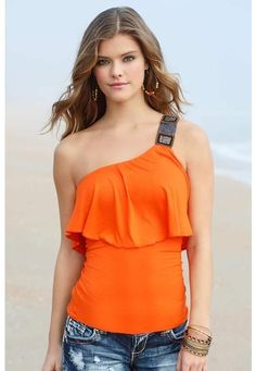 On SALE at Body Central for 9.99 BEADED ONE SHOULDER TIERED TOP
