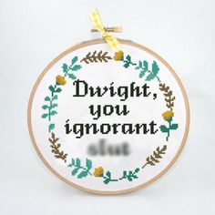 Excited to share the latest addition to my #etsy shop: Dwight you ignorant slut cross stitch funny office tv show floral wreath flowers begginer easy - Cross Stitch Pattern (Digital Format - PDF) https://etsy.me/2jYieCC