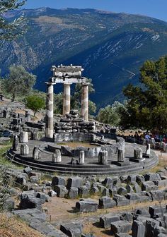 The Tholos temple - Delphi, Greece - Explore the World, one Country at a Time. http://TravelNerdNici.com