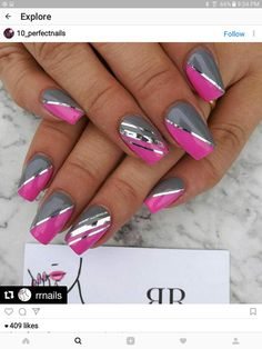 gray and pink nails - bit-toptrendspint .- graue und rosa Nägel – bit-toptrendspint… – gray and pink nails – bit-top trend spin … – - Grey Nail Designs, Fingernail Designs, Colorful Nail Designs, Acrylic Nail Designs, Acrylic Nails, Stylish Nails, Trendy Nails, Fancy Nails, Cute Nails