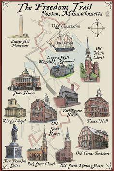 Print (Boston, Massachusetts - The Freedom Trail - Lantern Press Artwork)