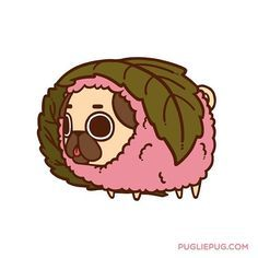 Pink Leaf Pugchi? (Thank you everyone who attended the stream! Don't wanna miss the next one? Follow me at http://ift.tt/1KYXX3n) by pugliepug
