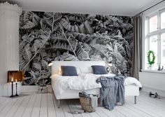 Find the perfect wall mural for your bedroom in our wide selection of bedroom wall designs for bedrooms. Free worldwide delivery and wallpaper paste i Bedroom Wall Designs, Bedroom Decor, Botanical Bedroom, Black And White Wallpaper, Wall Wallpaper, Wallpaper Online, Decoration, Wall Murals, Interior Design