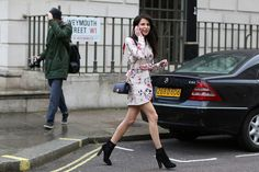 70 Amazing London Street-Style Snaps #refinery29  http://www.refinery29.com/london-fashion-week-street-style#slide4  Caroline Sieber hits the ground running in a beautiful floral mini.