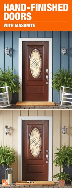 Masonite Everland entry doors combine the richness of real wood with the proven performance of fiberglass, giving you a durable door you can count on. Pre-hung and prefinished, these beautiful doors are also quick and easy to install. Click to shop Masonite doors.
