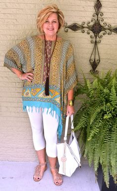 50 Is Not Old | Boho Style | Fringe Poncho | Fringe Sandals | Fashion over 40 for the everyday woman