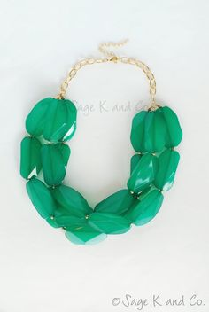 Emerald/Kelly Green Triple Strand Statement Necklace by SageKandCo