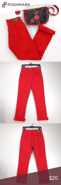 "Calvin Klein Tomato Red Relaxed Fit Jeans 9 W 29.5 A great pair of jeans to brighten your winter days!  Vintage Calvin Klein relaxed fit jeans in tomato red. Looks great cuffed! Pictures tell all!  In very good vintage condition (9/10). Color is slightly faded but does not detract from jeans. Comes from a smoke-free home. Auction for jeans only. Purse is available in another listing.  WAIST: about 29.5""  FRONT RISE: about 11"" INSEAM: about 31.5"" Calvin Klein Jeans Jeans Boyfriend"