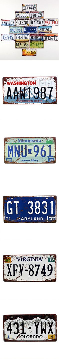 2016 Retro Metal Signs U.S. 16 States Wall Decoration Vintage Metal License Plate Art Bar Home Restaurant Decor Metal Signs $5.13