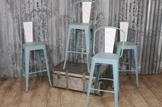 VINTAGE TOLIX STYLE BAR STOOLS IN LIGHT BLUE WITH BACK REST HAND DISTRESSED in Antiques, Antique Furniture, Chairs   eBay