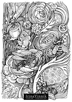 Bees by Irina Vinnik, Manic Botanic on Behance Cool Coloring Pages, Coloring Pages To Print, Printable Coloring Pages, Adult Coloring Pages, Coloring Books, Colorful Drawings, Colorful Pictures, Colouring Techniques, Doodles Zentangles
