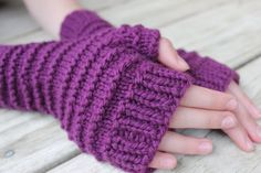 Kids Fingerless Gloves, Arm Warmers for Kids, Wrist Warmers, Wool Mittens, Purple Gloves, 4 Colors by TinkerCreekHandknits