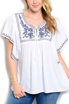 DHStyles Women's White Navy Plus Size Boho Chic Embroidered Flowy Casual Knit Top - 3X Plus #sexytops #clubclothes #sexydresses #fashionablesexydress #sexyshirts #sexyclothes #cocktaildresses #clubwear #cheapsexydresses #clubdresses #cheaptops #partytops #partydress #haltertops #cocktaildresses #partydresses #minidress #nightclubclothes #hotfashion #juniorsclothing #cocktaildress #glamclothing #sexytop #womensclothes #clubbingclothes #juniorsclothes #juniorclothes #trendyclothing…