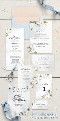 Wedding Sets, Blue Wedding, Spring Wedding, Wedding Cards, Wedding Dreams, Garden Wedding, Unique Wedding Invitations, Wedding Invitation Suite, Invitation Set