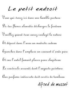 Le fameux poéeme d'alfred de Musset à George Sand. (Pour mettre un peu de poésie dans vos toilettes.)