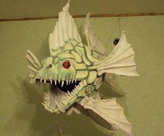 Alexander (from Moscow) and his paper mache Fish Paper Mache Projects, Paper Mache Crafts, Paper Mache Sculpture, Fish Sculpture, Paper Mache Animals, Cardboard Paper, 3d Paper, Paper Artwork, T Art